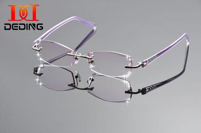 Deding женщин мода очки титана очки без оправы рамы алмазов украшения оптический рама с стекло DD1255