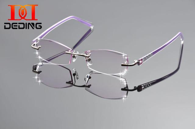 Tent DeDing mujeres moda gafas anteojos sin montura de titanio marco Diamond adornos marco óptico con vidrio receta DD1255