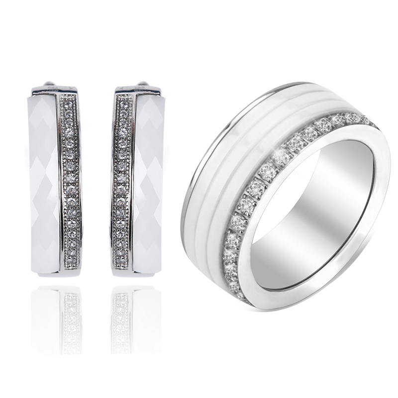 2018 New Fashion 8MM Wide Ceramic Rings Women Trendy Earrings With One Row Of Crystal Silver Metal Jewelry Set Wedding Party внутриканальные наушники audio technica ep3