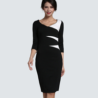 Winter Dressing Business Lady False Suite One Piece Midi Robe Patchwork V Neck Buttons Slim Fitted