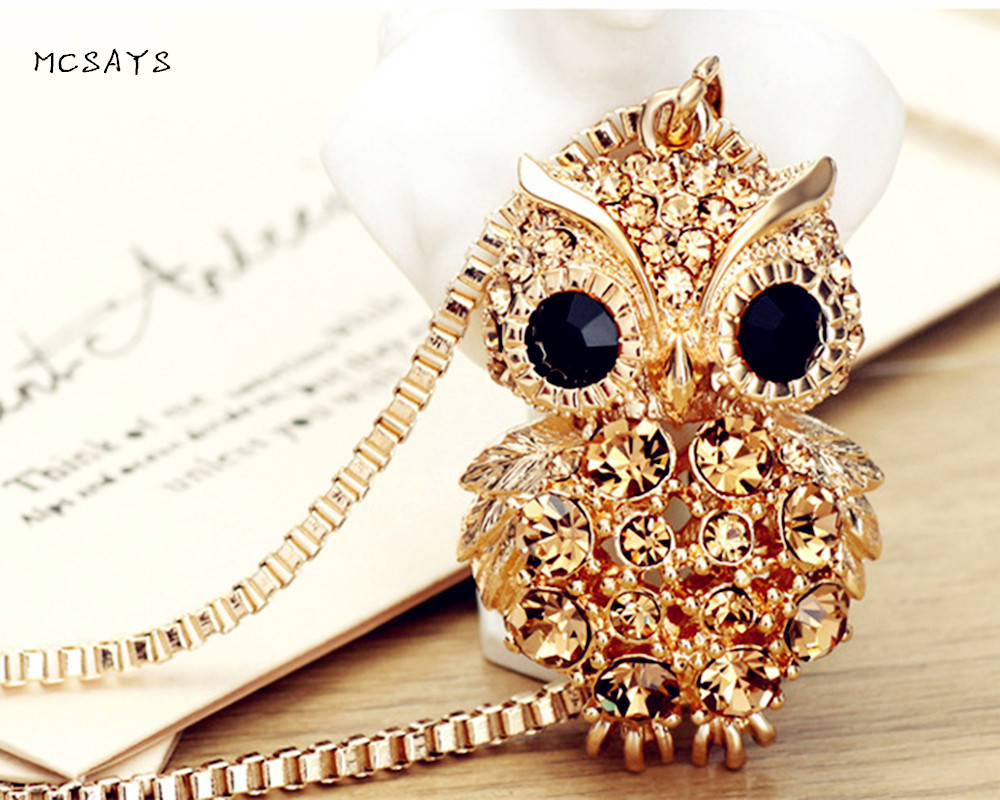 MCSAYS Hip Hop Jewelry Iced Out Crystal Owl Pendant Bling Athenas Love Bird Necklace Guardian Angel Fashion Accessories 3AL