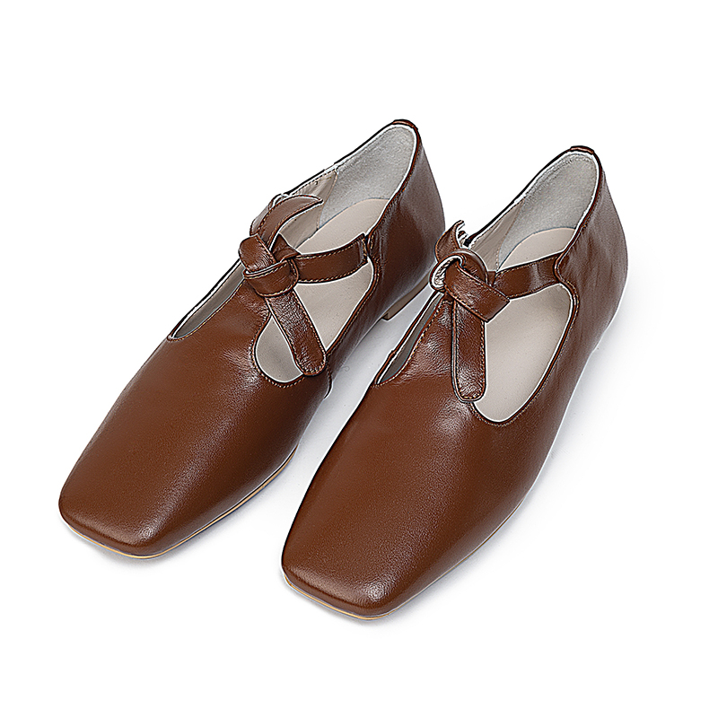 Kcenid Genuine leather women flat shoes bowknot square toe Mary Janes fashion comfortable ladies spring shoes woman plus size 42-in Women's Flats from Shoes    2