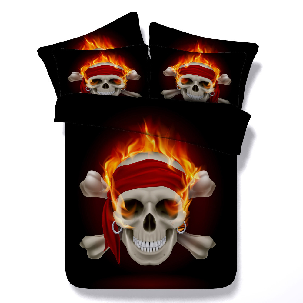 Black and red bedding - Black Red Skull Comforter Bedding Sets King Twin Single Queen Size 3d Printing Qiult Cover Home