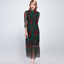 Elegant Dress Women 2019 Spring And Summer Vintage Embroidery Flower Mesh Patchwork 3/4 Sleeve Slim one step