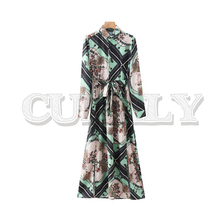 CUERLY women retro chains print shirt midi dress bow tie sashes long sleeve side split female casual chic dresses vestidos 2019 foliage print self tie shirt dress