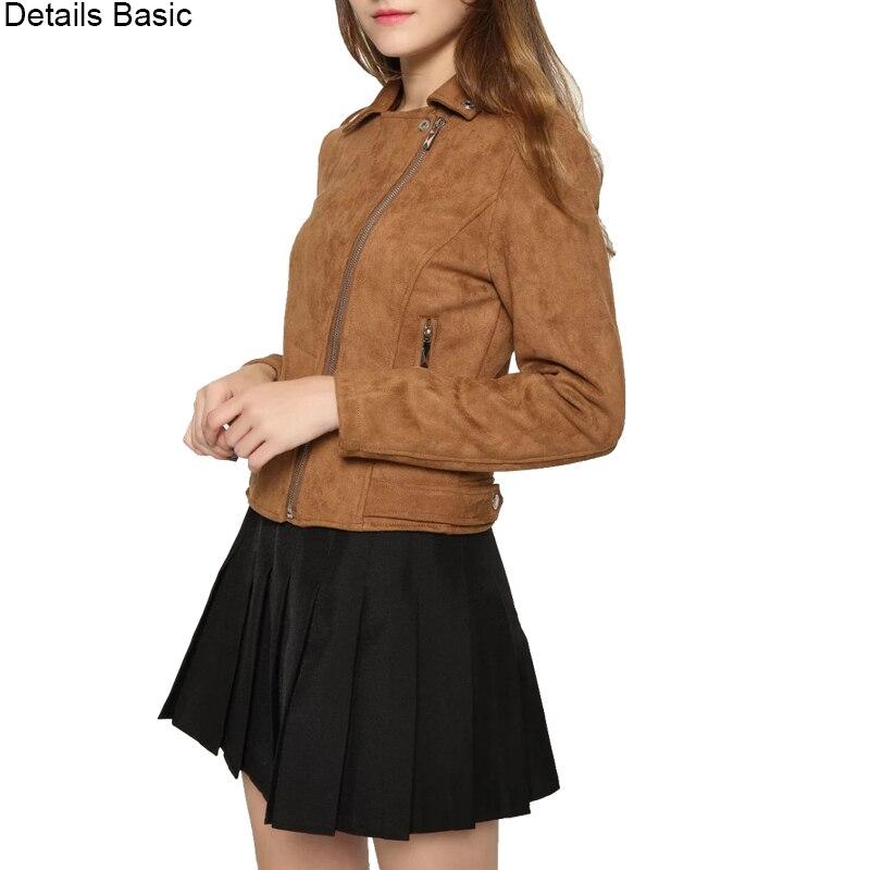 Nouvelle mode femmes daim moto veste Slim marron entièrement doublé doux faux cuir femme manteau veste femme cuir epaulet zipper