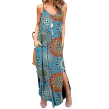 Summer Bohemian Floral Pocket Dress Women Spaghetti Strap Long Beach Sun Dress цена 2017