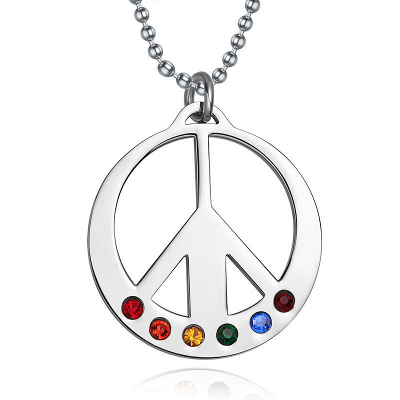 2015 Rushed Time-limited Colar Layer Necklace Crystal Fashion Unity Symbol Necklaces Pendants Stainless Steel Rainbow & For And