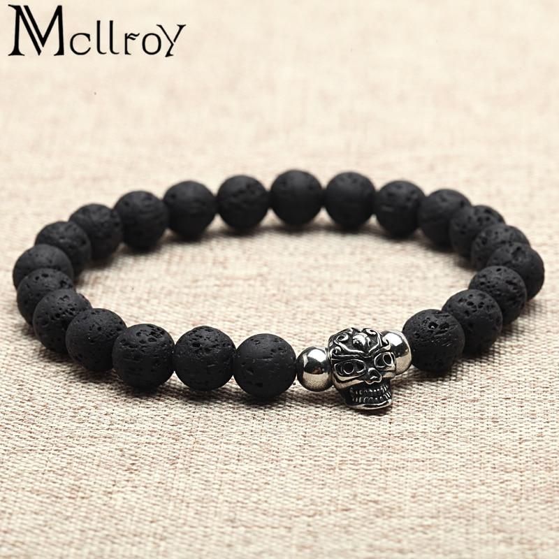 Jewelry & Accessories 100% True Mcllroy Fashion Bracelet Men 8mm Natural Tiger Stone Stainless Steel Skull/buddha/lion/anchor Bracelets Bangles Man Jewelry Boho