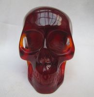 Elaborate Rare Chinese Vintage Hand Carved Artificial Amber Resin Skull Decoration statue