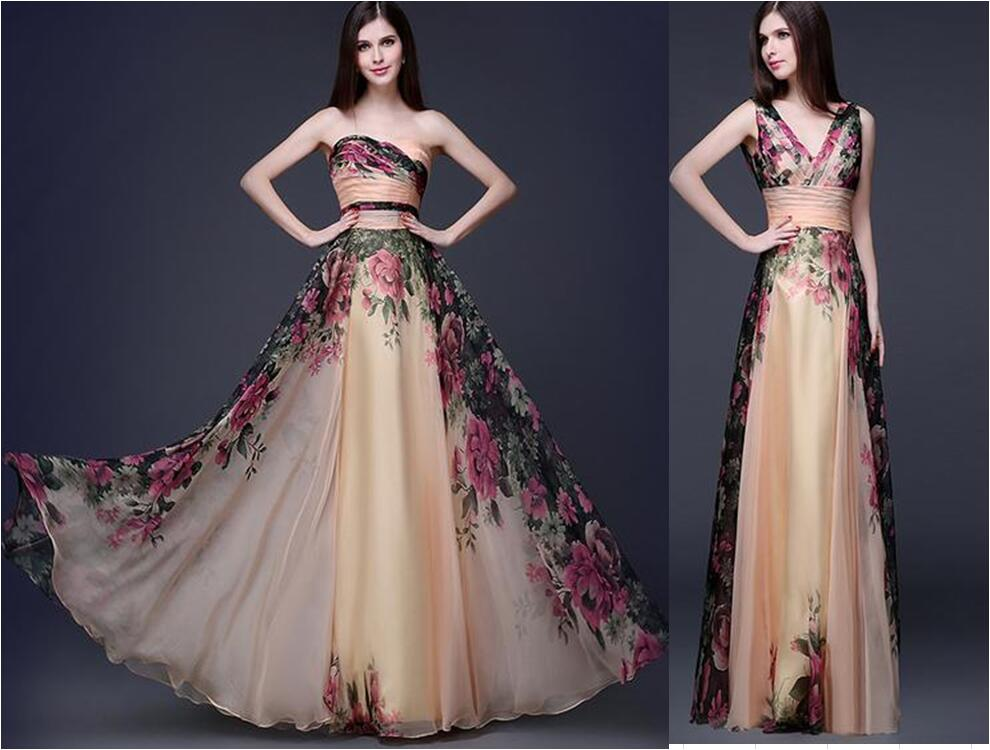 Sexy Elegant Backless Flower Floral Long Evening Dress Pattern Cool Formal Dress Patterns
