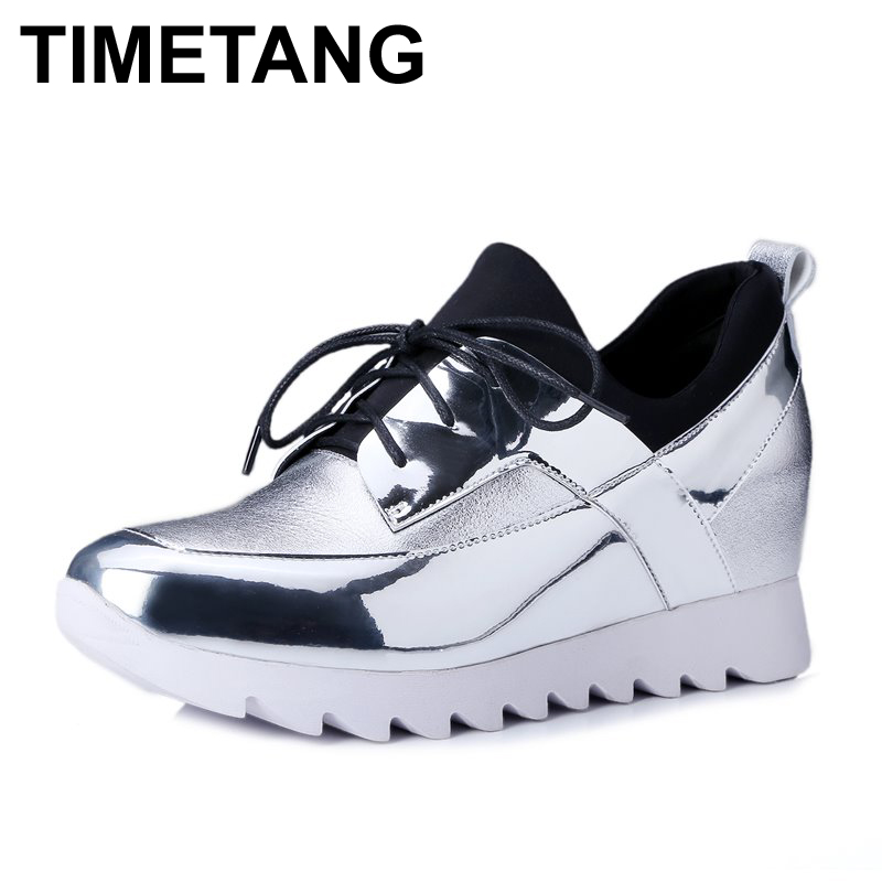 ФОТО Hot sale round toe lace up Patchwork full genuine leather fashion casual Low-heeled Shoes platform High quality women flats