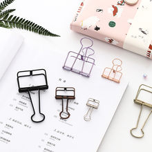 1pc Colored Metal Clip Cute Binder Clips Album Paper Clips Stationary Office School Paper Bills Receipt Organizer Binding Supply(China)