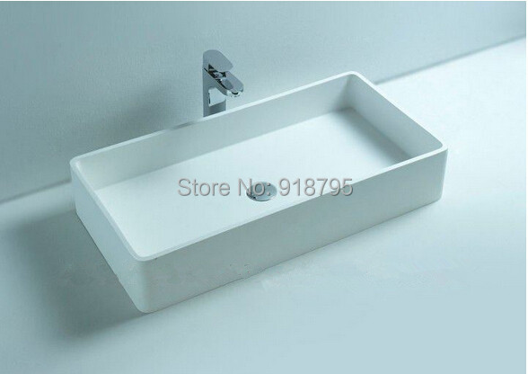 Corian Bathroom Above Counter Rectangular Wash Sink Matt Solid Surface Stone Laundry Washbasin Rs3813 517 In Sinks From Home Improvement On