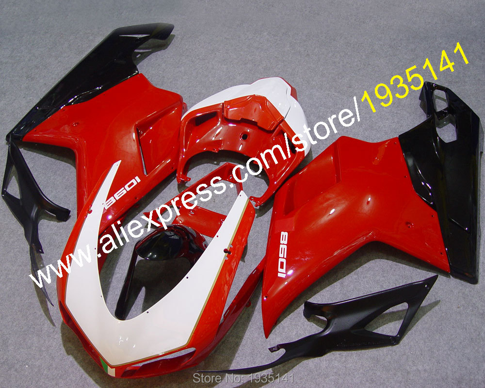 Hot Sales,Cowling For Ducati 848 1098 2007 2008 2009 20010 2011 1098S 1198 red white black sportbike Fairing (Injection molding) hot sales replacement abs fairings for ducati 1098 848 1198 xerox 2007 2008 2009 2010 2011 abs fairing kits injection molding