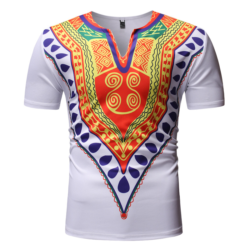 Mens White V Neck Short Sleeve T Shirt Men African Clothes 2019 New Hip Hop Streetwear Casual Tee Shirt Homme African Clothing