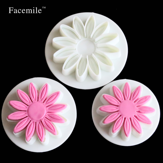 3 Pcs/set Veined Sunflower Daisy Gerbera Flower Fondant Cake Cookie Plunger Cutter 01064 Gift