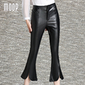 American style elegant flare pants PU leather calf-length pants fashion trousers pantalones mujer LT1173 Free shipping