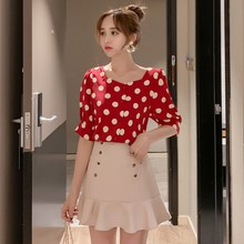 Verano dulce blusa Retro mujeres Polka Dot imprimir camisas delgadas manga corta cuello cuadrado Polo camisa moda blusas