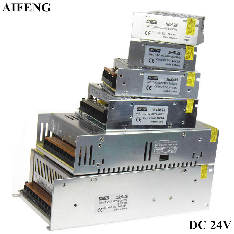 цена на AIFENG DC 24V Switching Power Supply 1A 2A 3A 5A 15A 25A Power Supply Switching Power AC 110V 220V To DC 24V For Led Strip Light