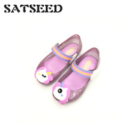 2019 Animal Pattern Shallow Mouth Waterproof Non slip Jelly Shoes Fashion Flat Girls Shoes