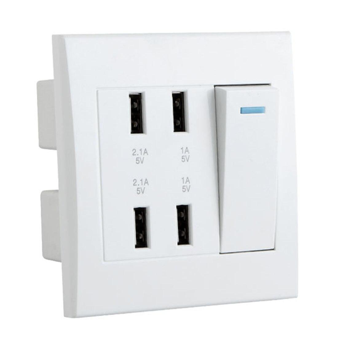 Prise murale USB 10A 4 Ports contrôle du commutateur chargeur Intelligent panneau de prise outil prise électrique maison prises adaptateur
