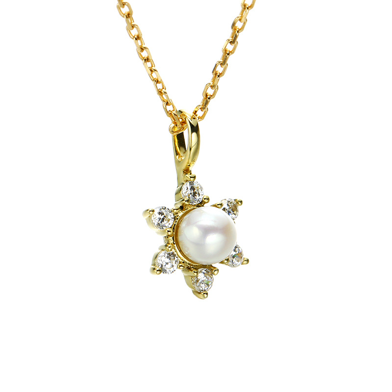 Elegant 9K Pure Real Yellow Gold Pearl Star Pendant Necklace for Women Girl Fancy Solid Charm Fine Engagement Jewelry GiftElegant 9K Pure Real Yellow Gold Pearl Star Pendant Necklace for Women Girl Fancy Solid Charm Fine Engagement Jewelry Gift