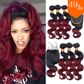 Burgundy Brazilian Body Wave with Closure 3Pcs Red Tissage Bresilienne Avec Closure 99J Ombre Brazilian Virgin Hair with Closure