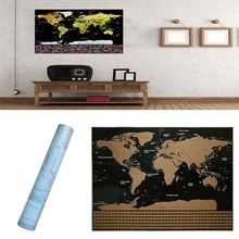Travel World Map Scratch Off Word With Flags & US States Scratch World Map Wall Stickers Home Decoration Accessories 82.5cm
