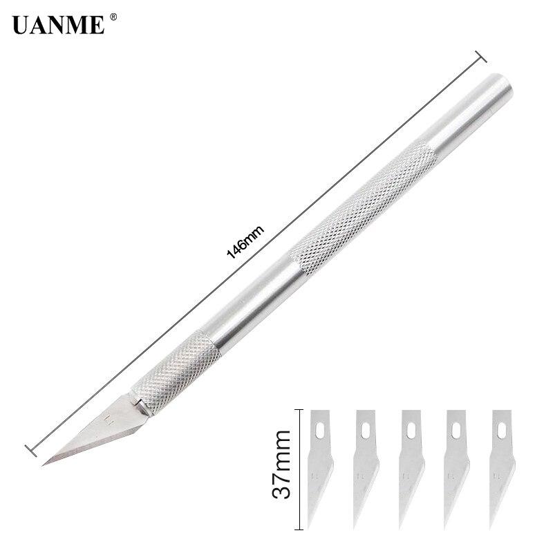 Купить с кэшбэком UANME 1Piece Metal Scalpel Knife With 6 pcs Blades Graver Mobile Phone Laptop PCB DIY Repair Hand Tools