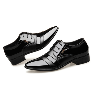 Image 2 - BIMUDUIYU Fashion Men Dress Flat Shoes Business Oxfords Shoes Pointed Toe Wedding Shoes Leather British Lace up Footwear