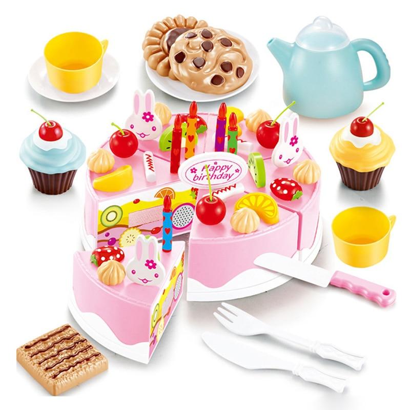 54pcs <font><b>Birthday</b></font> Cake DIY Cutting <font><b>Birthday</b></font> Cake Children Kids Early Educational Classic Toy Pretend Play Kitchen Food Plastic Toys