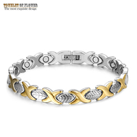 New Fashion Ladies Titanium Steel Bracelet Magnetic Trendy Jewelry Exquisite Gold Leaf Party Commemorative Bracelet Decoration