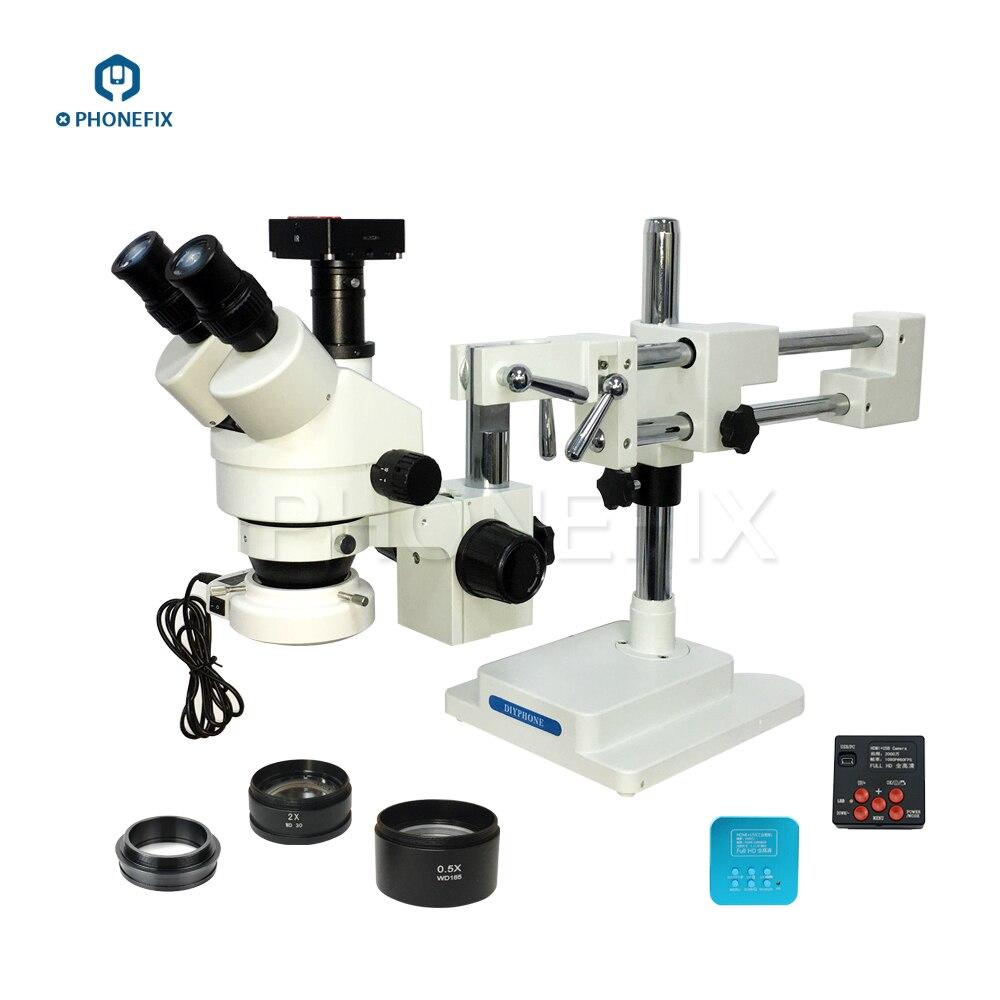 PHONEFIX 3.5X 90X двойной рычаг бум вертикальный, Тринокулярный Стерео зум микроскоп 20MP камера HDMI мобильный телефон PCB Материнская плата ремонт