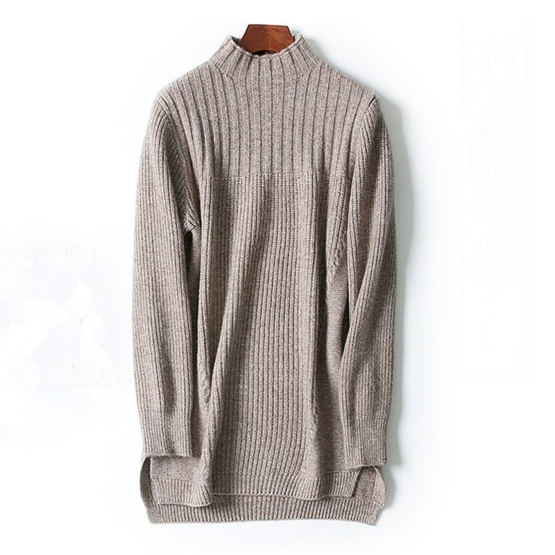 high quality mink cashmere turtleneck thread knit women fashion irregular hem pullover sweater dress grey coffee 2colors M/2XL
