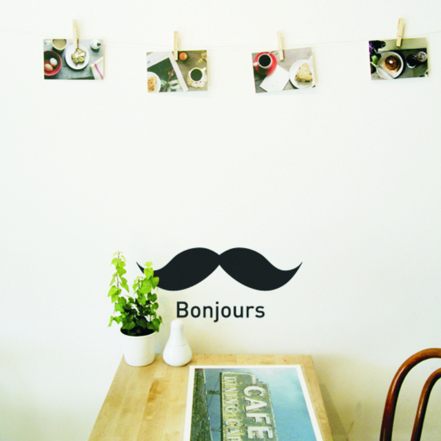 Environmental PVC Bonjours Mustache Stickers Wall Sticker Vinyl Decal Home  Decor Decal Personality DIY Stickers On