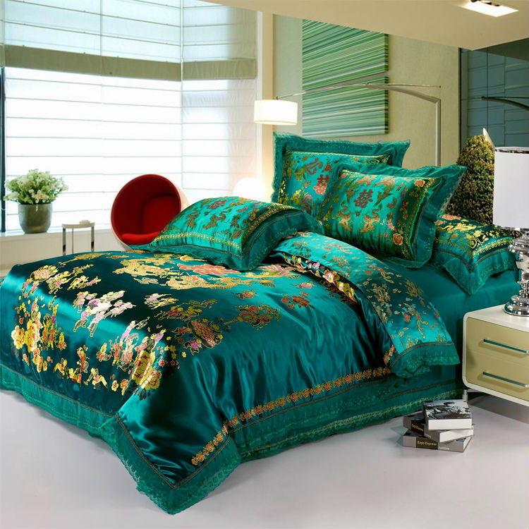 Luxury Green bedding set 4pc dragon and phoenix silk cotton duvet cover set flat sheet bed