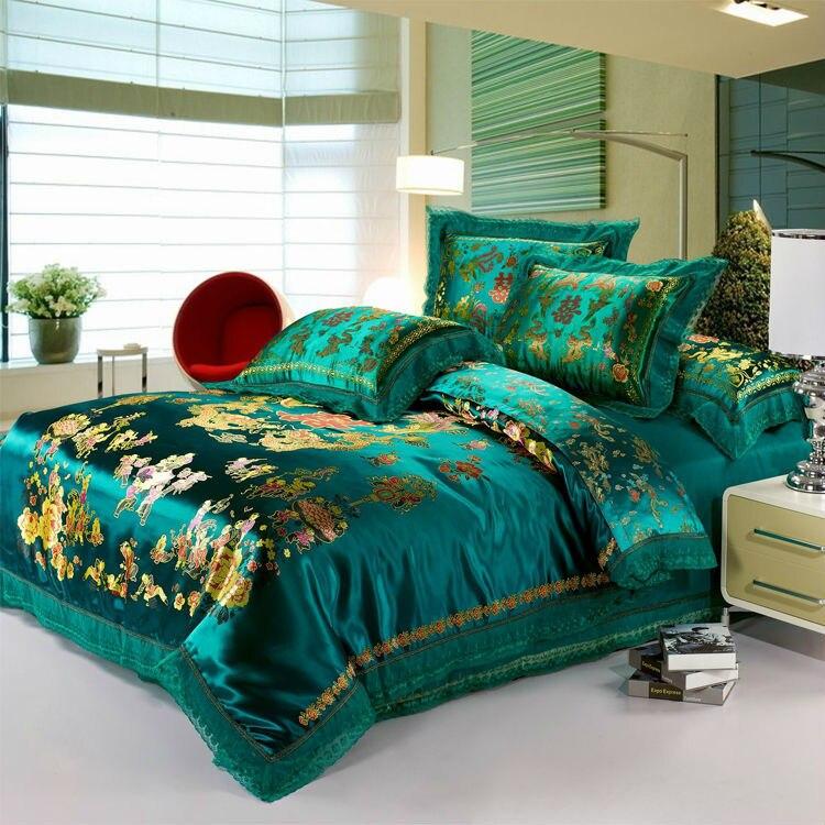 luxury green bedding set 4pc dragon and phoenix silkcotton duvet cover set flat sheet