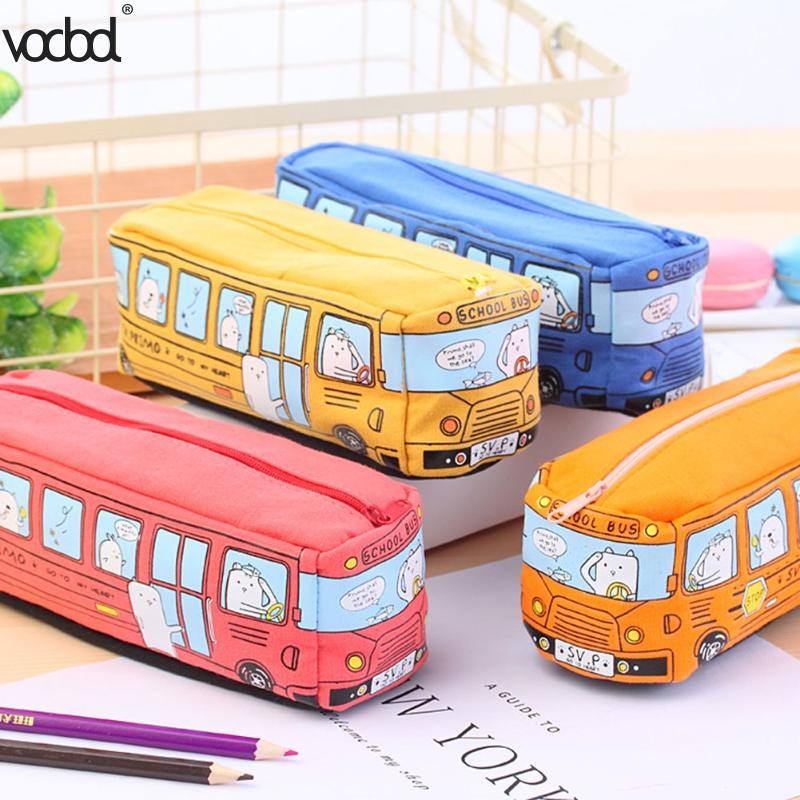 Creative Canvas Car Pencil Case School Supplies Pencil Cases For Girls Boys Stationery Pen Bag Estojo Escolar Escolar Papelaria