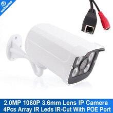 H.264 HD 2MP 1080 P cámara IP POE exterior IP66 red 1920 * 1080 Bullet cámara de seguridad CCTV P2P / ONVIF visión nocturna 4 matriz de LED