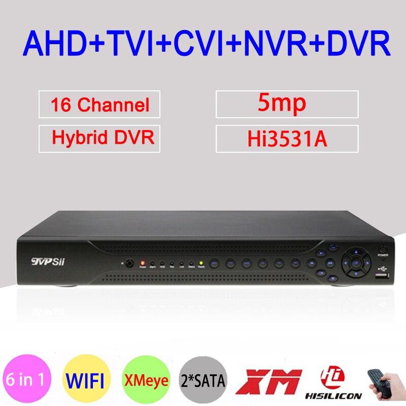 Hi3531a 5mp 16ch 16 каналов 2 * SATA WI-FI коаксиальный гибридный 6 в 1 NVR TVI CVI AHD CCTV DVR рекордеры для видеонаблюдения Бесплатная доставка