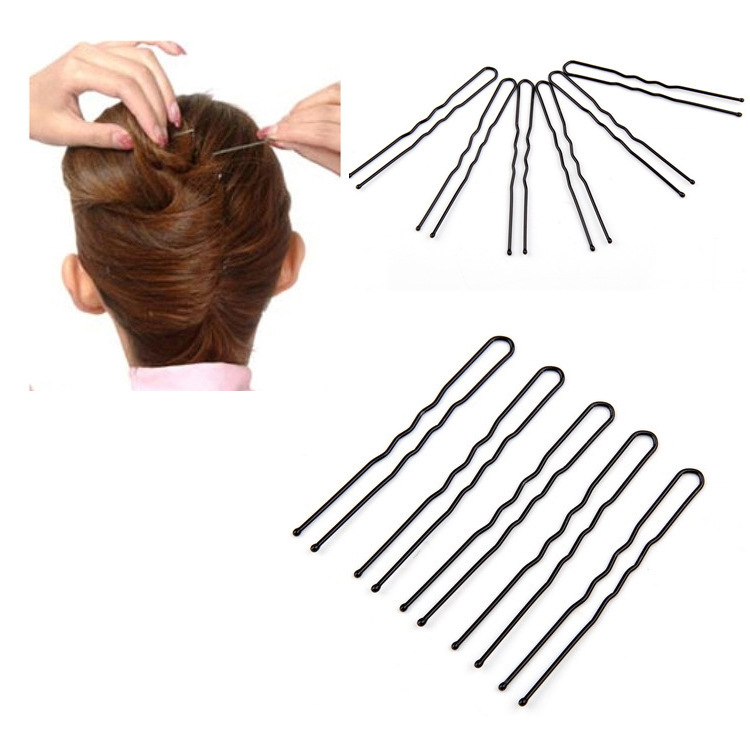 50Pcs/set Pro Hair Clips 5cm Black Bobby Pins Curly Wavy Grips Hairstyle Barrette Hairpin Hair Hairdressing Styling DIY Tools