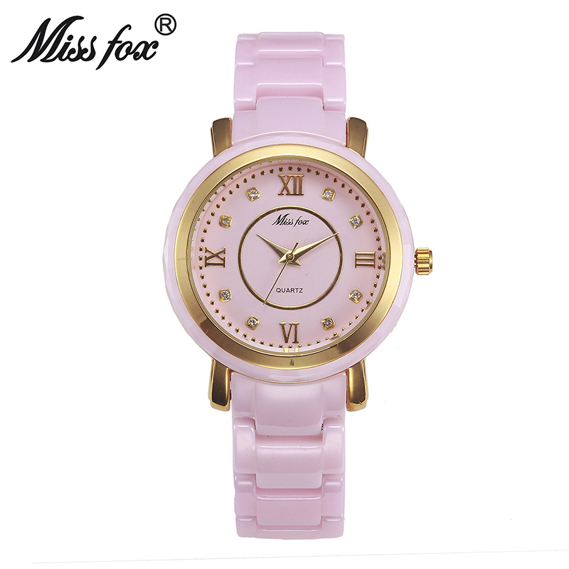 Miss Fox 37mm Rosa cerámica relojes para las mujeres vestido xfcs impermeable reloj mujer 2017 famosa marca perfecta señoras relojes