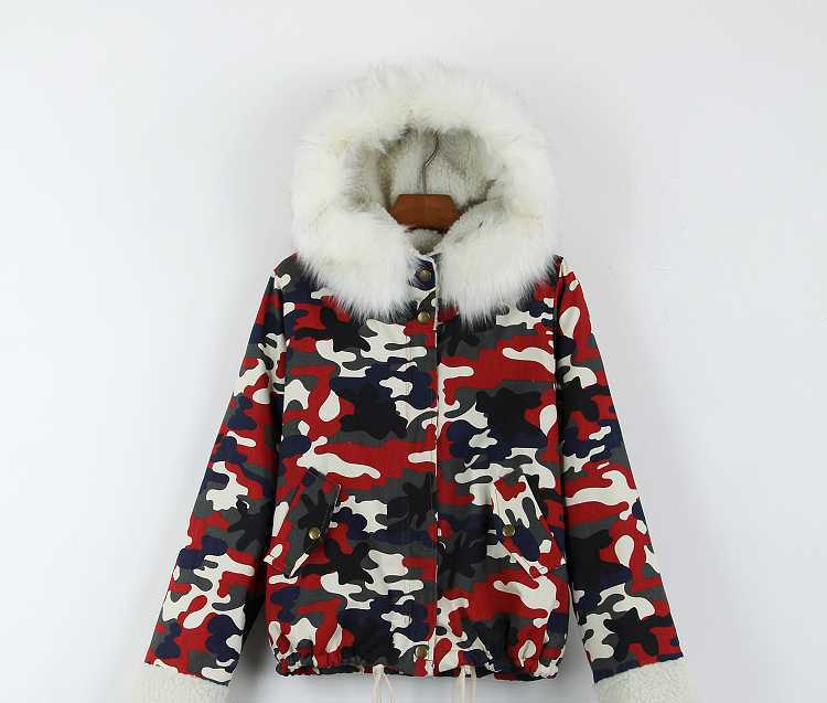 New 2015 Women Fur Hooded Berber Fleece Coats Fashion Winter Thicken Wadded Jackets Women Camouflage Cotton Padded Parkas H4620 brand new 2015 men fur hooded cotton padded coats fashion winter women thicken jackets couples overcoats outerwear h4395