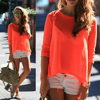 Sexy Summer Girls Women Orange Black Chiffon Blouse Top Deep V Vest Shirts Tops