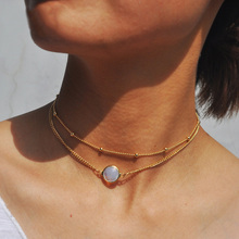 Gold Color Multi Layer Chain Choker Necklace For Women Opal Stone Pendant Chocker Necklaces Collares Mujer collier femme joyas