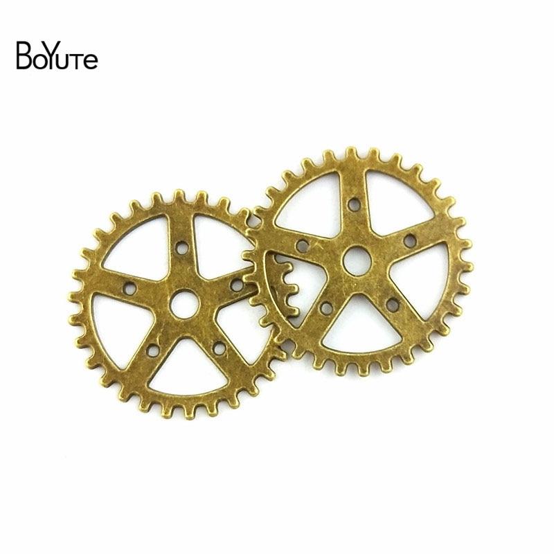 BoYuTe (100 шт./лот) 25 мм опт Античная бронзовая оцинкованная Шестерня для колес из цинкового сплава Diy металлические аксессуары для изготовления...
