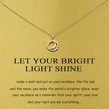 Let Your Bright Light Shine Sun And Moon Pendant Necklace With Card Women Fashion Jewelry Gifts