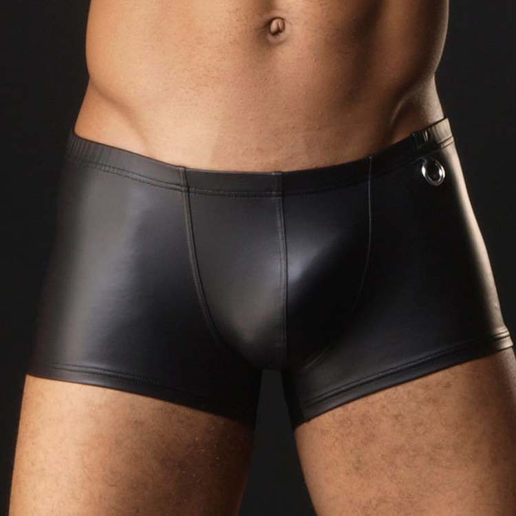 High Quality New Europe Style Mens Sexy Black Faux Leather Elastic Boxer Short Gay Male Erotic Jockstrap Lingerie Underwear M-XL