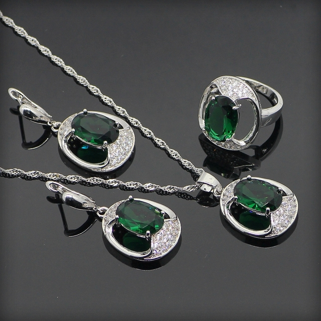 Classic 925 Sterling Silver Green Created Emerald White Topaz Jewelry Sets For Women Necklace Pendant Earrings Rings Free Box